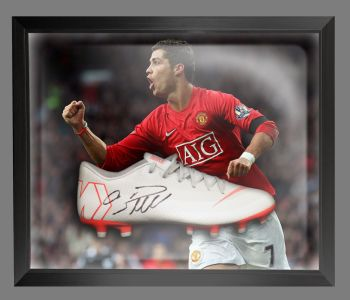 Cristiano Ronaldo Manchester United Hand Signed Football Boot in an Acrylic Dome;;