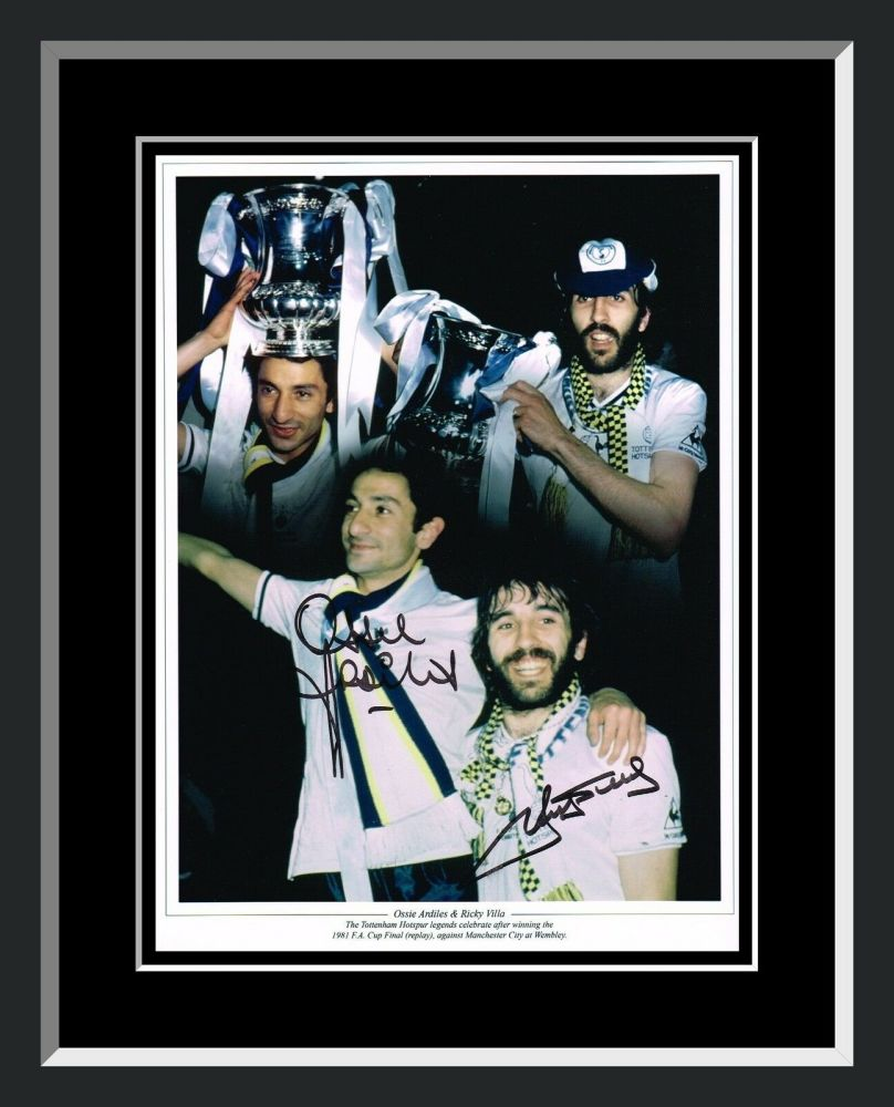 Ricky Villa And Ossie Ardiles Duel Hand Signed And Framed Tottenham Hotspur