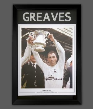 Jimmy Greaves Hand Signed A2 Spurs Football Photograph In a Framed Presentation