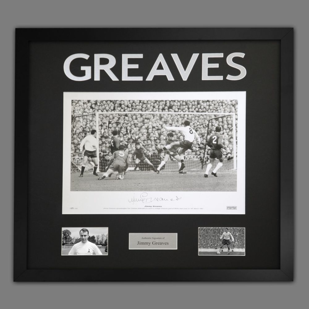 Jimmy Greaves Hand Signed A2 Spurs Football Photograph In a Framed Presenta