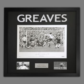 Jimmy Greaves Hand Signed A2 Spurs Football Photograph In a Framed Presentation : A