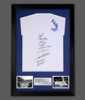 Leeds 1972 Replica Football Shirt Signed By 9 In A Framed Presentation