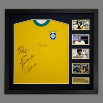 Pele, Torres, Jairzinho and Gérson Hand Signed And Framed  Brazil Football Shirt