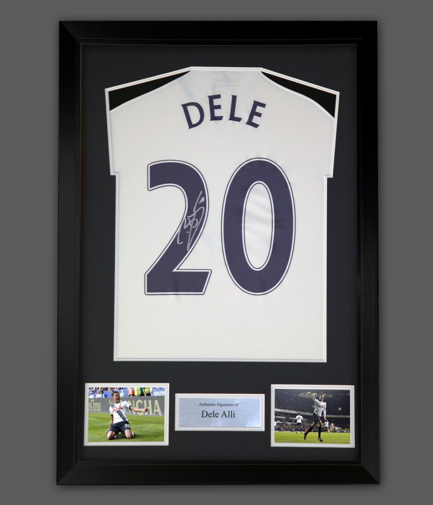 Dele Alli  Hand  Signed  Replica Spurs Football Shirt In A Frame Presentat