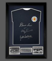Denis Law, Bobby Lennox And Jim McCalliog Signed Scotland Football Shirt In A Frame