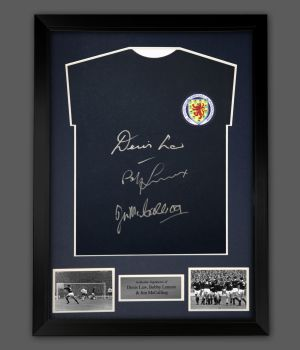 Denis Law, Bobby Lennox And Jim McCalliog Signed Scotland Football Shirt In A Frame