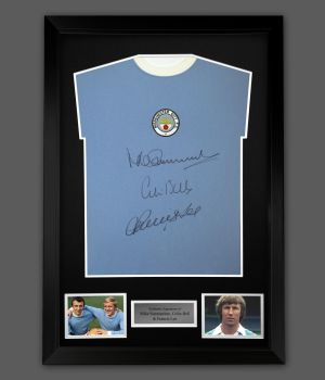 Colin Bell, Mike Summerbee And  Francis Lee Signed Manchester City Football Shirt In A Frame