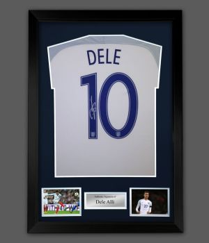 Dele Alli  Hand  Signed  Replica England Football Shirt In A Frame Presentation