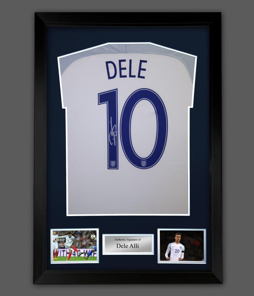 Dele Alli  Hand  Signed  Replica England Football Shirt In A Frame Presenta
