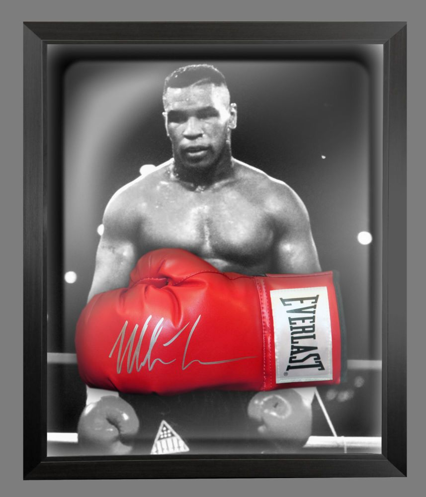 Mike Tyson Signed Red Boxing Glove Presented In A Dome Frame