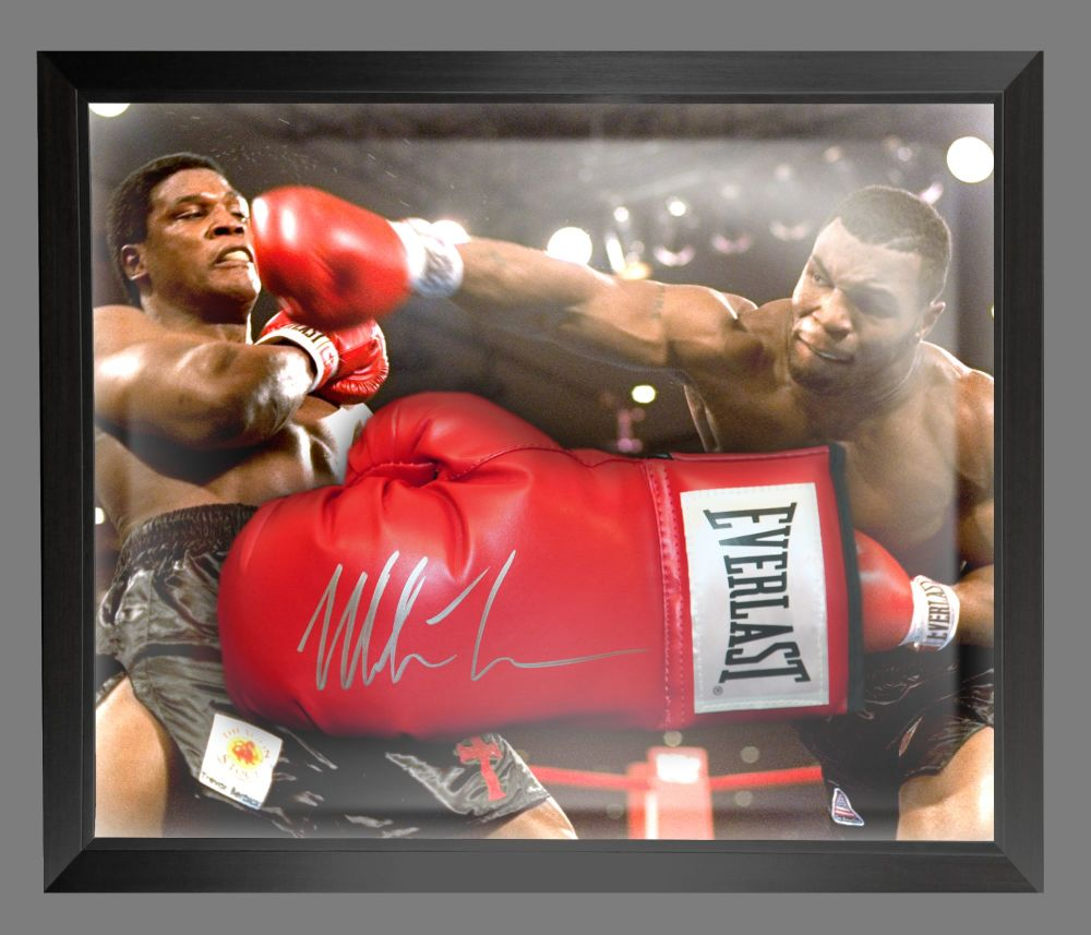 Mike Tyson Signed Red Everlast Boxing Glove In A Dome Frame.