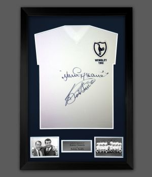 Jimmy Greaves  And Bobby Smith Duel Signed Spurs Football Shirt In A Frame