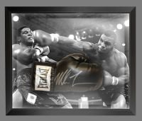 Mike Tyson Signed  Black Everlast Boxing Glove In A Dome Frame.,,