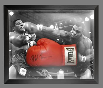 Mike Tyson Signed Red Boxing Glove Presented In A Dome Frame : Signed In Black Pen : A