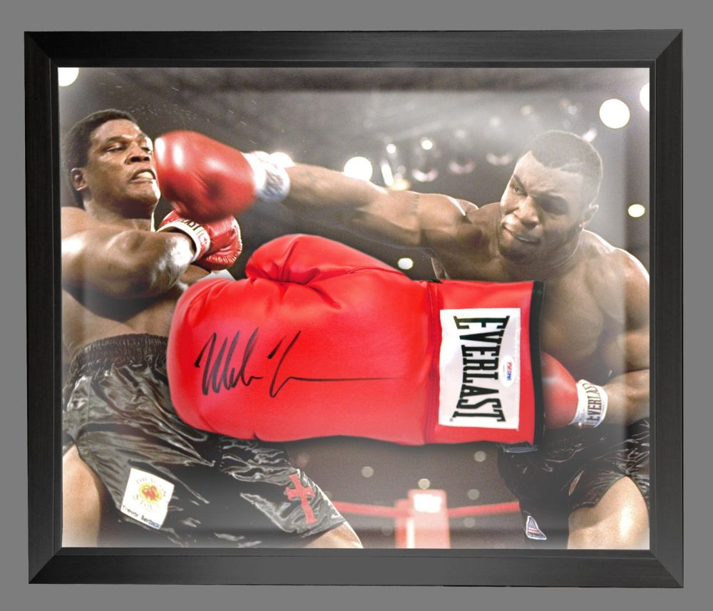 Mike Tyson Signed Red Boxing Glove Presented In A Dome Frame : Signed In Bl