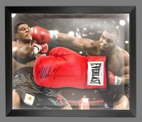 Mike Tyson Signed Red Boxing Glove Presented In A Dome Frame : Signed In Black Pen : B