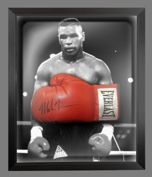 Mike Tyson Signed Red Boxing Glove Presented In A Dome Frame : Signed In Black Pen : C