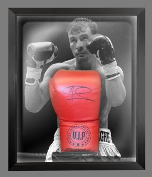 Joe Calzaghe  Hand Signed Red VIP Boxing Glove In A Dome Frame : C