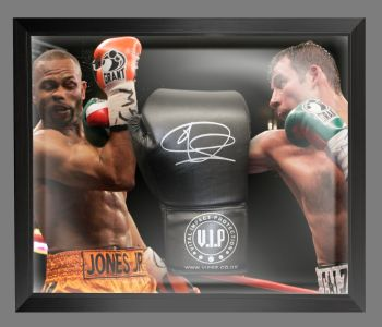 Joe Calzaghe  Hand Signed Black VIP Boxing Glove In A Dome Frame : D