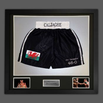 Joe Calzaghe Hand Signed And Framed Custom Made Boxing Trunks : A