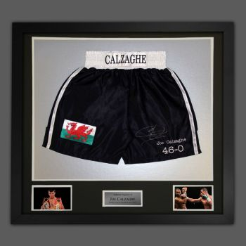 Joe Calzaghe Hand Signed And Framed Custom Made Boxing Trunks : B