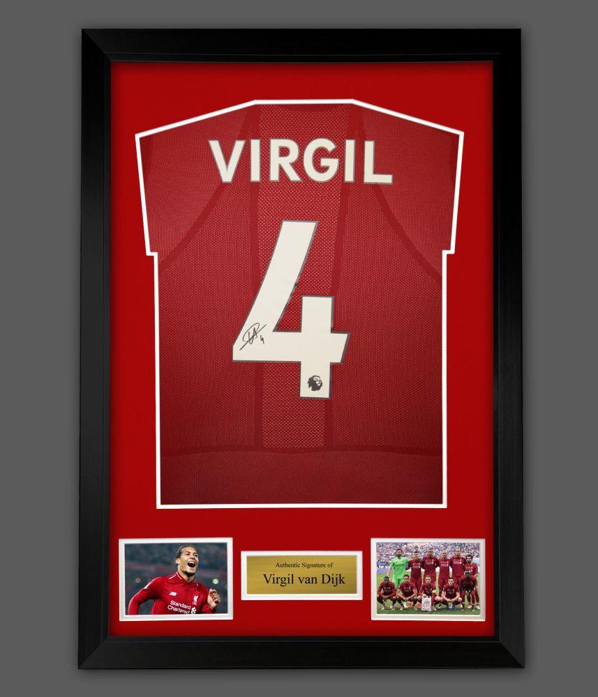 Virgil Van Dijk Hand Signed Liverpool Fc Football Shirt In A Frame