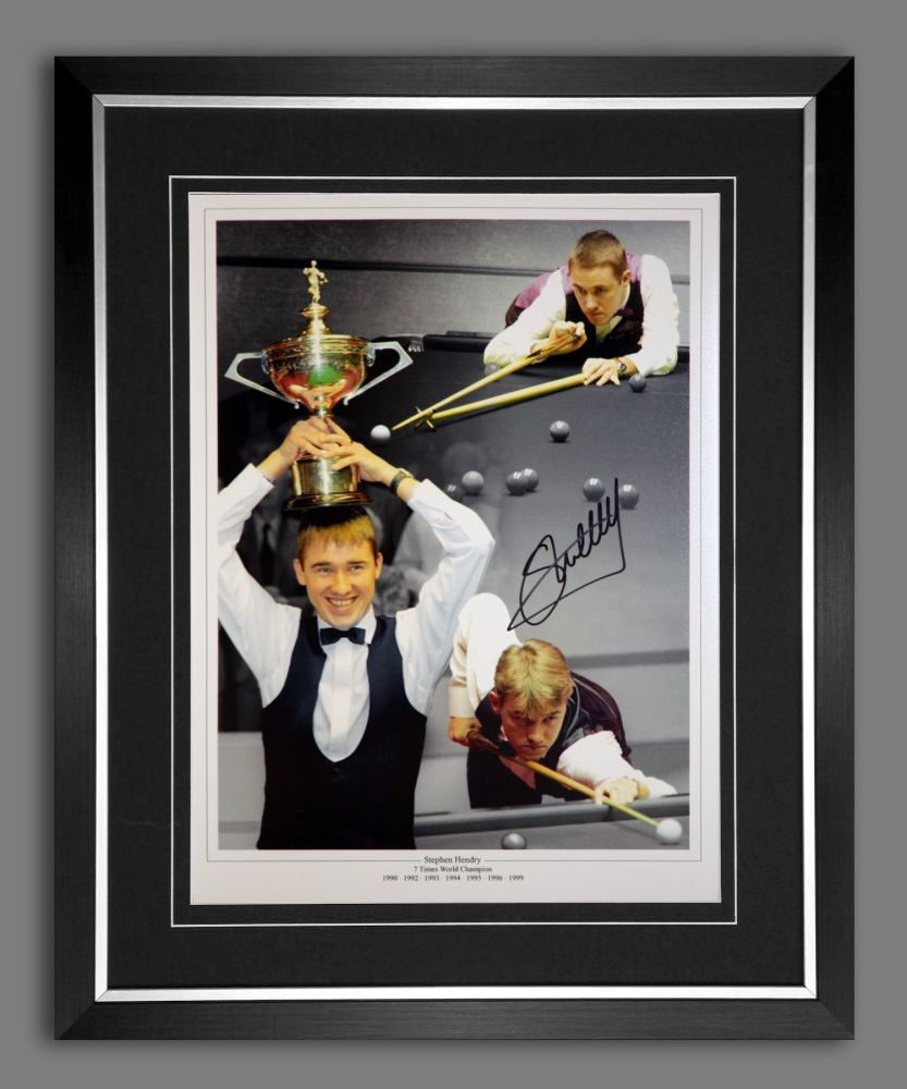 Stephen Hendry Signed And Framed Snooker Montage