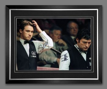 Stephen Hendry  And Jimmy White Duel Signed And Framed Snooker Photograph