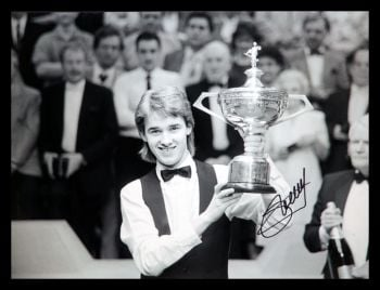Stephen Hendry Signed Snooker  Black And White Photograph
