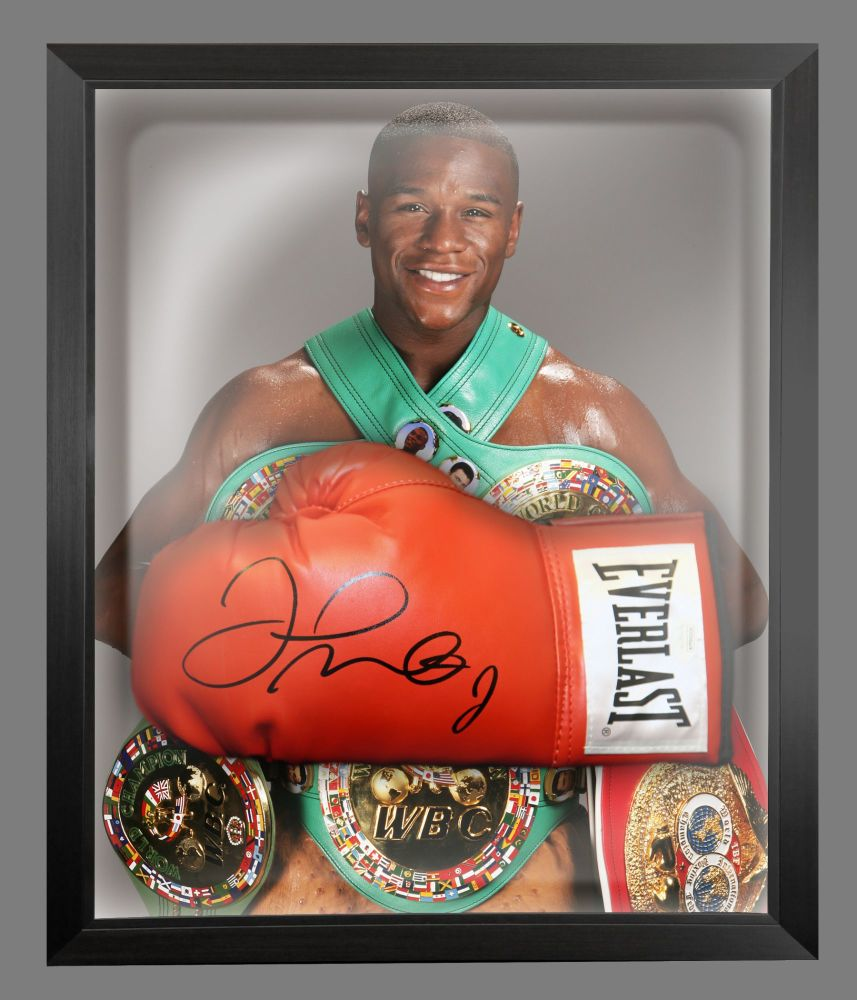 Floyd Mayweather Signed Red Boxing Glove Presented In  A Dome Frame : A