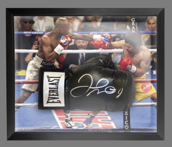 Floyd Mayweather Signed Black Boxing Glove Presented In  A Dome Frame : A