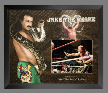 "Jake ""The Snake"" Roberts Wrestling Photograph In A Framed Display."
