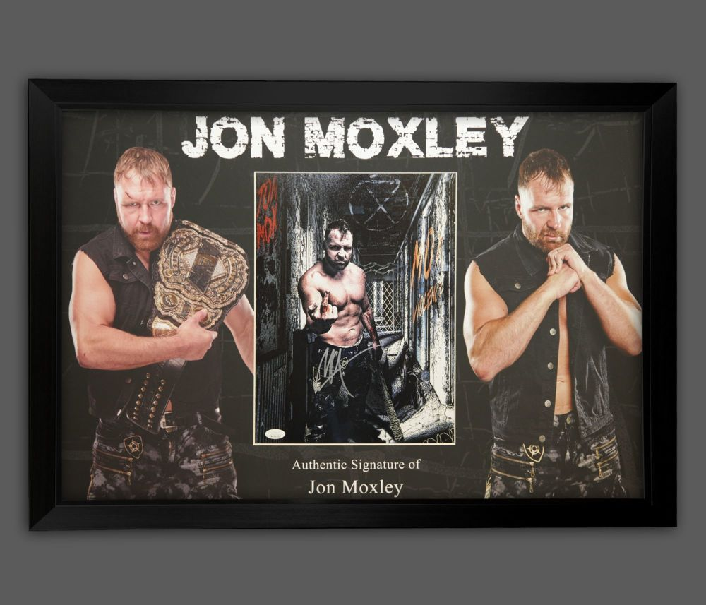Jon Moxley Wrestling Photograph In A Framed Display.