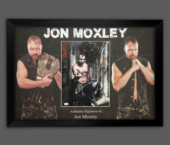 Jon Moxley Wrestling Photograph In A Picture Frame Display.