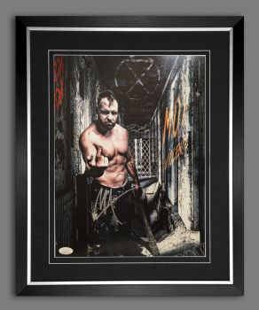 Jon Moxley Wrestling Photograph In A Frame.