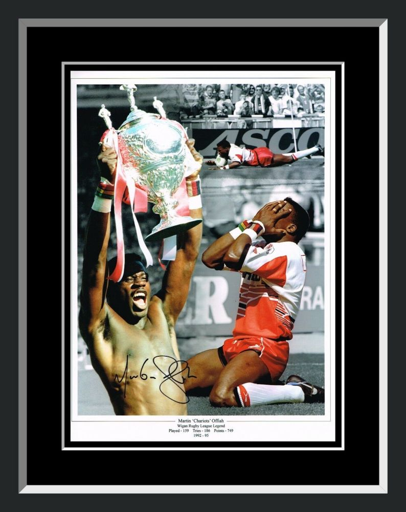 Martin Offiah Signed  And Framed 12x16 Montage