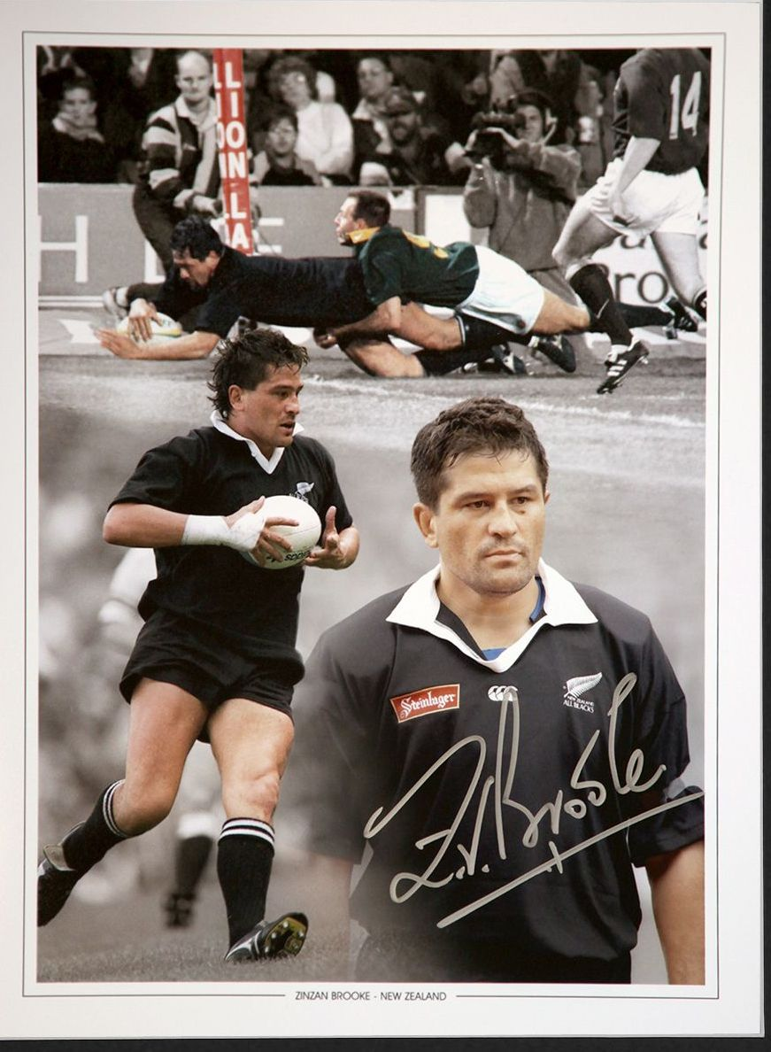 Zinzan Brooke New Zealand Signed 12x16 Rugby Montage