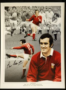Phil Bennett Signed wales Rugby 12x16 photograph : A