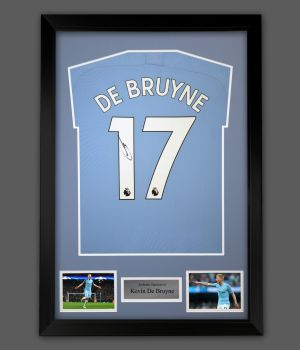 Kevin De Bruyne Hand Signed Manchester City Football Shirt In A Framed Presentation,,