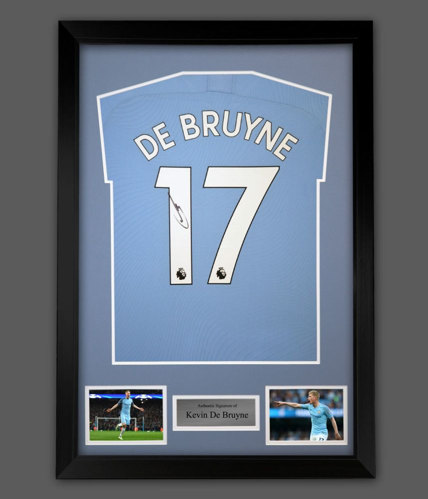 Kevin De Bruyne Hand Signed Manchester City Football Shirt In A Framed Pre