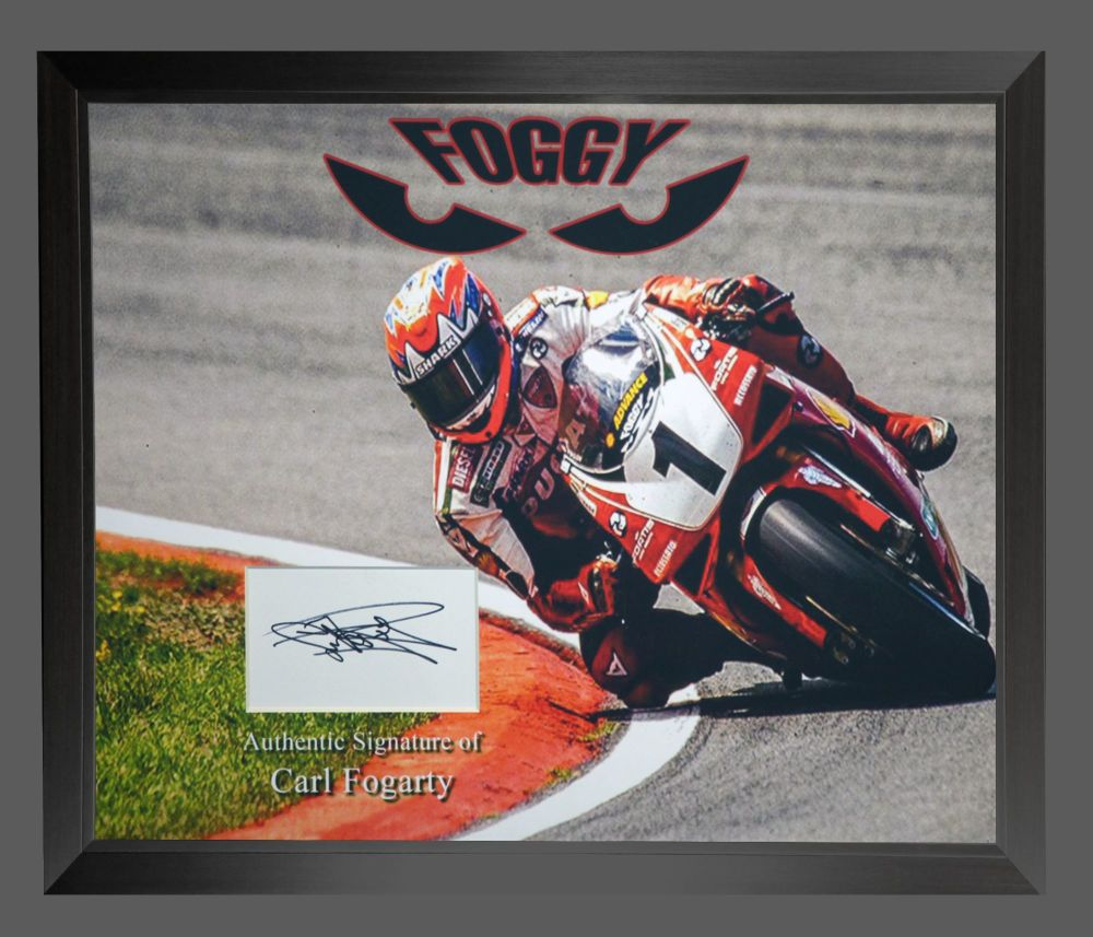 Carl Fogarty Super Bike Hand Signed And Framed   White Card  In A Framed P