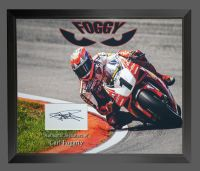 Carl Fogarty Super Bike Hand Signed And Framed   White Card  In A Framed Presentation.