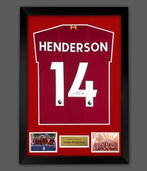 Jordan Henderson Hand Signed Liverpool Fc Football Shirt In A Framed Presentation,,