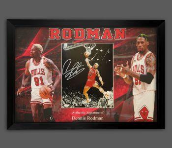 Dennis Rodman Hand Signed And Framed Chicago Bulls Photograph In A Framed Presentation : A