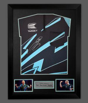 Phil Taylor Hand Signed  Blue Front Official Darts Shirt In A Framed Presentation