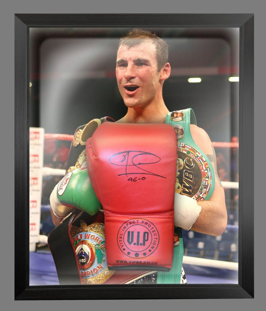 Joe Calzaghe  Hand Signed Red VIP Boxing Glove In A Dome Frame: 46/0 : B