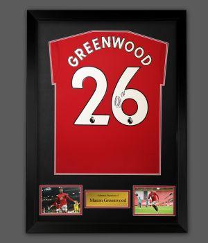 Mason Greenwood Hand Signed Manchester United Football Shirt In A Framed Presentation,,