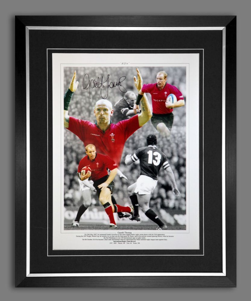 Gareth Thomas Hand Signed and Framed 12x16 Wales Rugby Montage