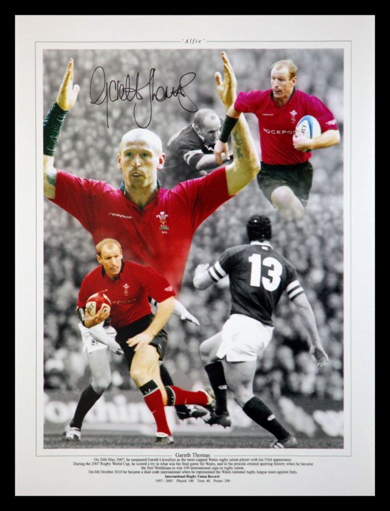 Gareth Thomas Hand Signed 12x16 Wales Rugby Montage