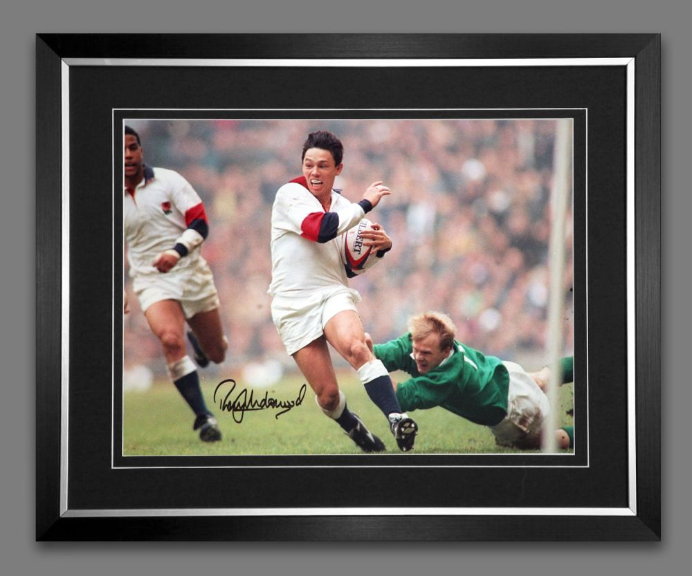 Rory Underwood Hand Signed And Framed 12x16 England Rugby Montage